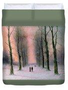 Snow Scene Wanstead Park   Duvet Cover by Nils Hans Christiansen