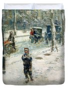 Snow Storm on Fifth Avenue Duvet Cover by Childe Hassam