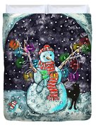 Snowman And Cat Duvet Cover by Catherine Martha Holmes