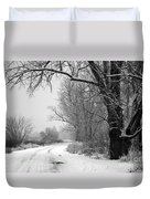 Snowy Branch Over Country Road - Black And White Duvet Cover by Carol Groenen
