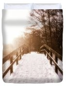 Snowy Bridge Duvet Cover by Wim Lanclus