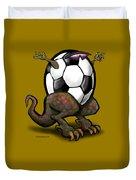 Soccer Saurus Rex Duvet Cover by Kevin Middleton