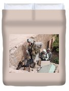 Soldiers Move To The Roof Of A Metal Duvet Cover by Stocktrek Images