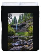 South Silver Falls With Bridge Duvet Cover by Darcy Michaelchuk