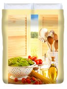 Spaghetti And Tomatoes In Country Kitchen Duvet Cover by Amanda Elwell
