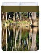 Spot The Swan Family Duvet Cover by Kaye Menner