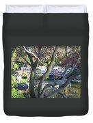 Springtime Bridge Through Japanese Maple Tree Duvet Cover by Carol Groenen
