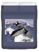 Sr-71b Blackbird In Flight Duvet Cover by Stocktrek Images