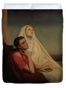 St Augustine And His Mother St Monica Duvet Cover by Ary Scheffer