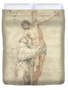 St Francis Rejecting The World And Embracing Christ Duvet Cover by Bartolome Esteban Murillo
