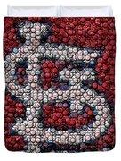 St. Louis Cardinals Bottle Cap Mosaic Duvet Cover by Paul Van Scott