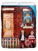 St. Urbain Street Boys Duvet Cover by Carole Spandau