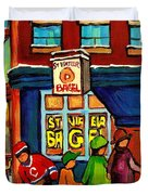 St. Viateur Bagel With Hockey Duvet Cover by Carole Spandau