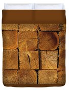Stack Of Logs Duvet Cover by David Chapman