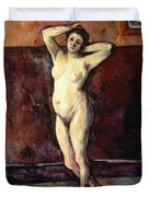 Standing Nude Woman Duvet Cover by Cezanne