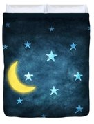 Stars And Moon Drawing With Chalk Duvet Cover by Setsiri Silapasuwanchai