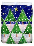 Stars And Snow Duvet Cover by Cathy Baxter