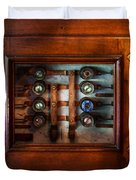 Steampunk - Electrical - The fuse panel Duvet Cover by Mike Savad