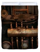 Steampunk - Plumbing - The valve matrix Duvet Cover by Mike Savad