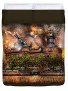 Steampunk - The War Has Begun Duvet Cover by Mike Savad
