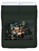 Still Life With Basket Of Flowers Duvet Cover by Jean-Baptiste Monnoyer