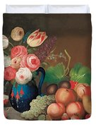 Still life with fruit and flowers Duvet Cover by William Buelow Gould