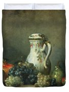 Still Life with Grapes and Pomegranates Duvet Cover by Jean-Baptiste Simeon Chardin