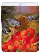 Still Life with Strawberries and Bluetits Duvet Cover by Eloise Harriet Stannard