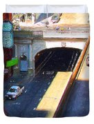 Stockton Street Tunnel in Heavy Shadow . Long Version Duvet Cover by Wingsdomain Art and Photography