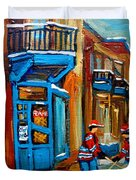 Street Hockey At Wilensky's Montreal Duvet Cover by Carole Spandau