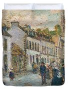 Street In Pont Aven Duvet Cover by Childe Hassam