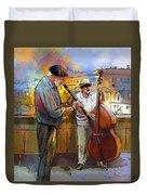 Street Musicians In Prague In The Czech Republic 01 Duvet Cover by Miki De Goodaboom