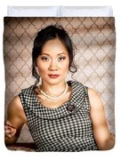 Stylish vintage asian pin-up lady with cigarette Duvet Cover by Ryan Jorgensen