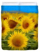 Sunflowers in the Field Duvet Cover by Jeff Kolker