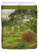 Sunset At Eragny Duvet Cover by Camille Pissarro