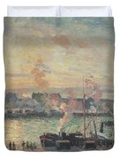 Sunset At Rouen Duvet Cover by Camille Pissarro