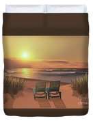 Sunset Beach Duvet Cover by Corey Ford