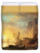 Sunset In The Rockies Duvet Cover by Albert Bierstadt