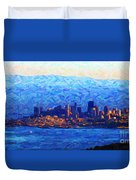 Sunset Over San Francisco Bay Duvet Cover by Wingsdomain Art and Photography