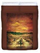 Sunset Over Vineyard Duvet Cover by Jill Battaglia