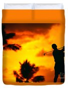Sunset Silhouetted Golfer Duvet Cover by Dana Edmunds - Printscapes