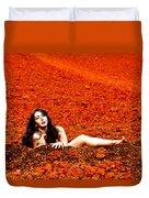 Surprised Martian Hatching Duvet Cover by Scott Sawyer