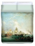 Surrender Of The Santissima Trinidad To Neptune The Battle Of Trafalgar Duvet Cover by Lieutenant Robert Strickland Thomas