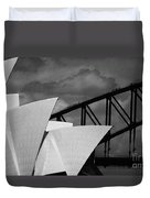 Sydney Opera House With Harbour Bridge Duvet Cover by Avalon Fine Art Photography