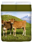 Taranaki, Dairy Cows Duvet Cover by Himani - Printscapes