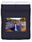 Taughannock Waterfalls In Autumn Duvet Cover by Paul Ge