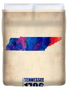 Tennessee Watercolor Map Duvet Cover by Naxart Studio