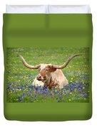 Texas Longhorn In Bluebonnets Duvet Cover by Jon Holiday