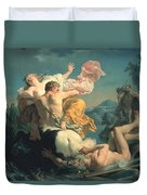 The Abduction Of Deianeira By The Centaur Nessus Duvet Cover by Louis Jean Francois Lagrenee