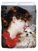 The actress Rejane and her dog Duvet Cover by Giovanni Boldini